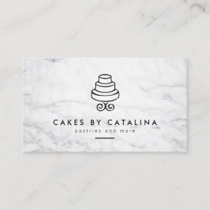 Wedding cake baker business cards templates zazzle vintage tiered cake design on white marble bakery business card reheart Gallery