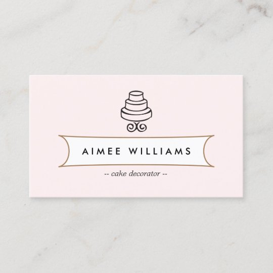 Vintage tiered cake logo on pink business card zazzle vintage tiered cake logo on pink business card colourmoves