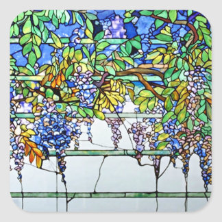Vintage Tiffany Stained Glass Wisteria Floral Art Square Sticker