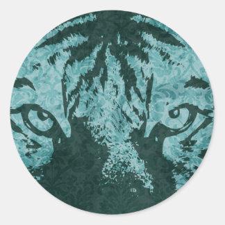 vintage tiger classic round sticker