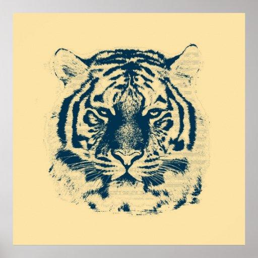 Vintage Tiger Face Poster