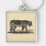 Vintage Tiger Illustration - 1800's Tigers African Silver-Colored Square Keychain