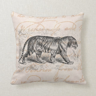 Vintage Tiger Illustration Tigers Template Throw Pillow