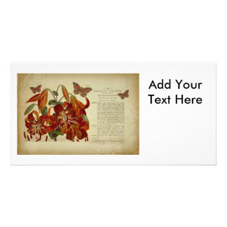 Vintage Tiger Lily Botanical Illustration Personalized Photo Card