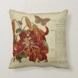 Vintage Tiger Lily Botanical Illustration Pillow