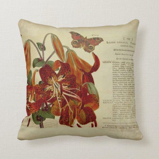 Vintage Tiger Lily Botanical Illustration Throw Pillow