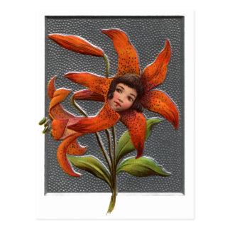 Vintage Tiger Lily Girl Postcard