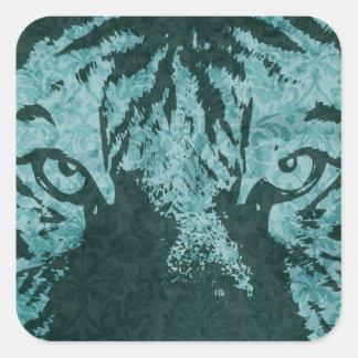 vintage tiger square sticker
