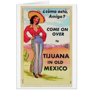 Vintage Tijuana Old Mexico Postcard Pin Up