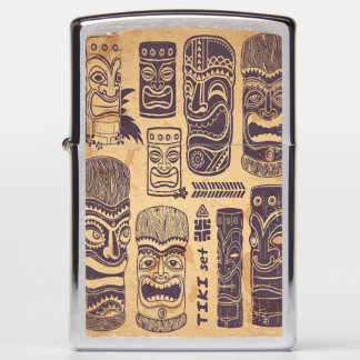 Vintage Tiki Set Zippo Lighter