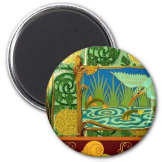 Vintage Tile Design Arts and Crafts Art Nouveau 2 Inch Round Magnet