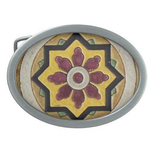 Vintage Tile Oval Belt Buckle