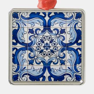 Vintage Tile Pattern Metal Ornament