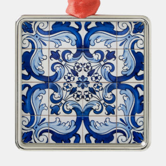 Vintage Tile Pattern Square Metal Christmas Ornament