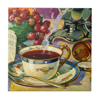 Vintage Tile Trivet Still Life Morning Coffee