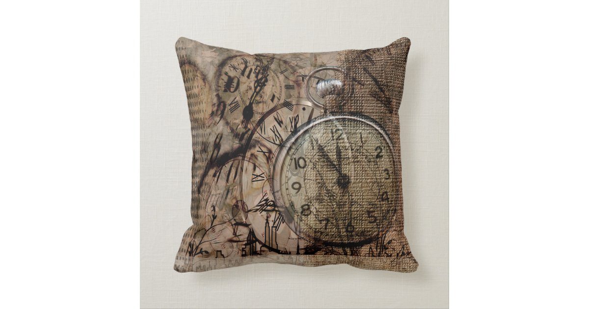 Vintage Inspired Throw Pillows : Vintage Time Rustic Style Throw Pillow Zazzle