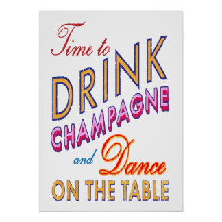 Vintage Time to Drink Champagne Poster