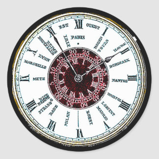 Vintage time zone watch classic round sticker
