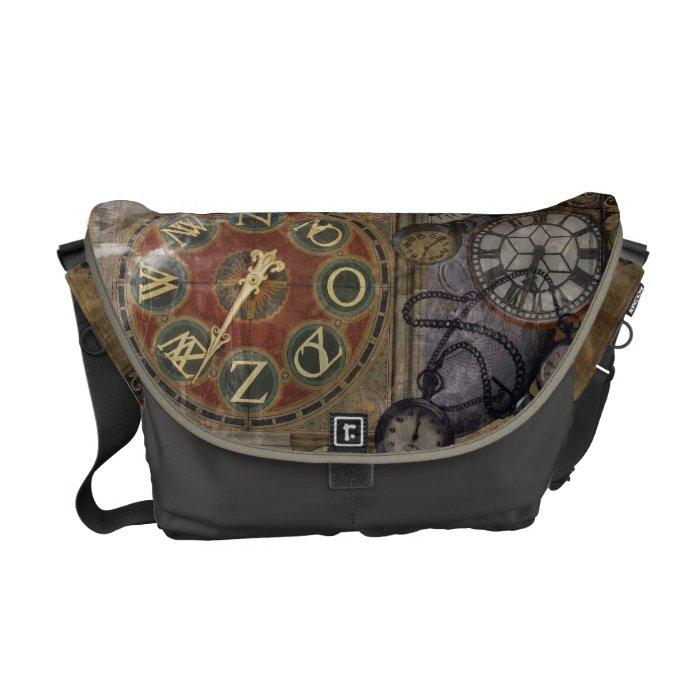 Vintage Timepiece Collage Messenger Bag