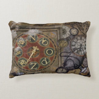 Vintage Timepieces Steampunk Atmosphere Accent Pillow