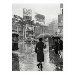 Vintage Times Square NYC Rainy Day Postcard
