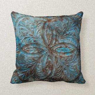 Vintage Tin Panel in teal blue Throw Pillows
