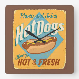 Vintage tin sign - Hot Dogs Square Wall Clock