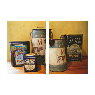 Vintage Tins and Jugs Stretched Canvas Prints