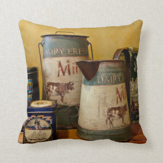 Vintage Tins and Jugs Pillow