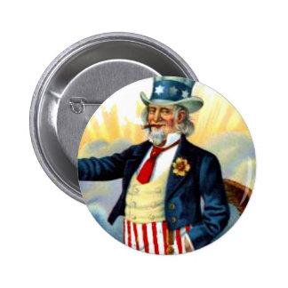 Vintage tío Sam 4 de julio patriótico Pin Redondo 5 Cm