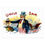 Vintage tío Sam caja de cigarros etiqueta 4 de jul Tarjeta Postal