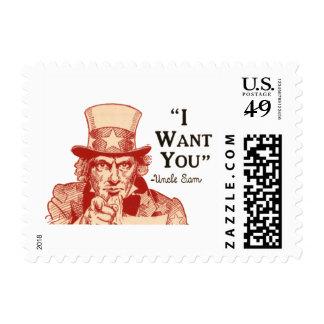 Vintage tío Sam independencia 4 de julio rojo Estampilla