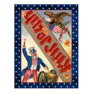 Vintage tío Sam y águila del 4 de julio Tarjeta Postal