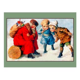 Vintage tired Santa Claus, children Postcard