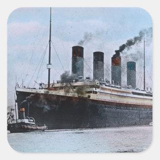 Vintage titánico del RMS Belfast Irlanda Pegatina Cuadradas Personalizadas