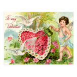 Vintage - To My Valentine - Cupid, Hearts & Doves Postcard