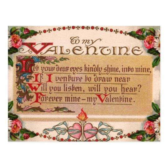 Vintage - To My Valentine - Poem Postcard