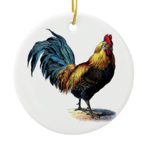 Vintage to rooster ceramic ornament