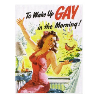 """Vintage """"To Wake Up Gay"""" Post Card"""