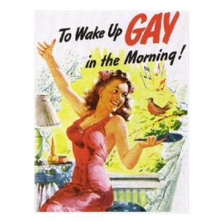 "Vintage ""To Wake Up Gay"" Postcard"