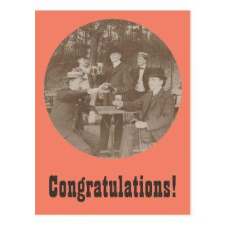Vintage Toast Congratulations Party Men Postcard