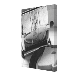 Vintage Toaster Black and White Wrapped Canvas Gallery Wrapped Canvas