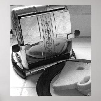 Vintage Toaster Black White Kitchen Art Print