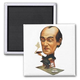 Vintage Tobacco Cigar Smoking Big Headed Man 2 Inch Square Magnet