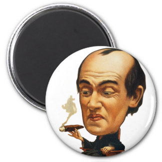 Vintage Tobacco Cigar Smoking Big Headed Man 2 Inch Round Magnet