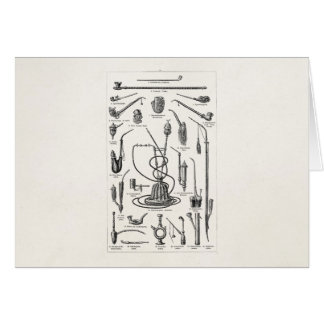 Vintage Tobacco Pipes and Old Hookah Illustration Card