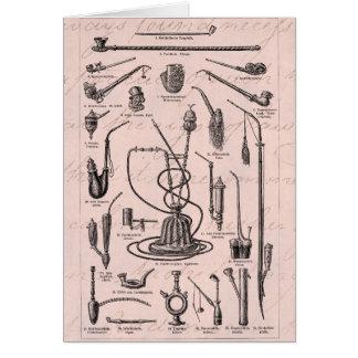 Vintage Tobacco Pipes Hookah Retro Illustration Card