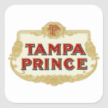 Vintage Tobbacco Cigars Tampa Prince LabelVintage Square Sticker