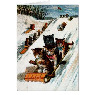 Vintage Toboggan Cats Card