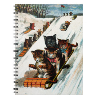 Vintage Toboggan Cats Notebook